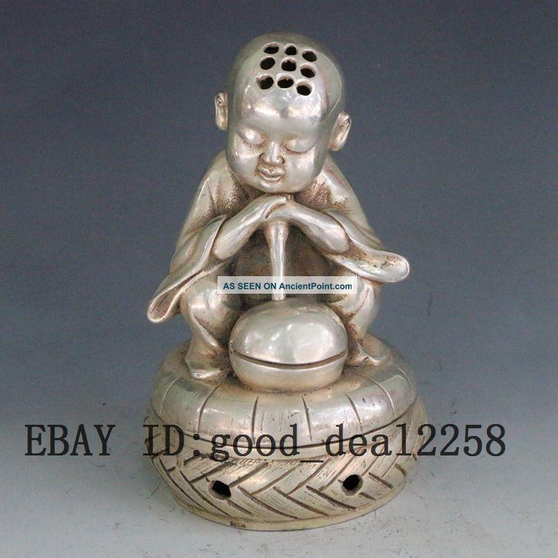 Chinese Old Handwork Tibet Silver Carve Monk Prayer Incense Burner Gd7747 Buddha photo