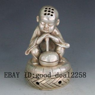 Chinese Old Handwork Tibet Silver Carve Monk Prayer Incense Burner Gd7747 photo