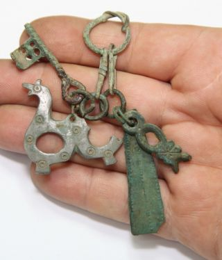 Ancient Viking Bronze Amulet Great Save Viking Amulet Zoomorphic Pendants Key photo