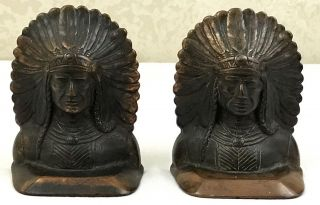 Authentic 1929 Antique Cast Iron Indian Head Bookends Sachem Rare Listed Pair photo