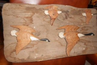 Vtg Antique Wood Carved Canadian 4 Geese Painted Goose Folk Art Wall Hanging photo