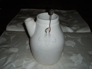 Vintage Glazed Stoneware Batter Pitcher W/handle Approx.  9.  5