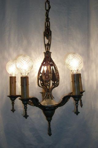 Antique 1920 ' S Art Deco Chandelier Vtg Polychrome Ceiling Nouveau Light Fixture photo
