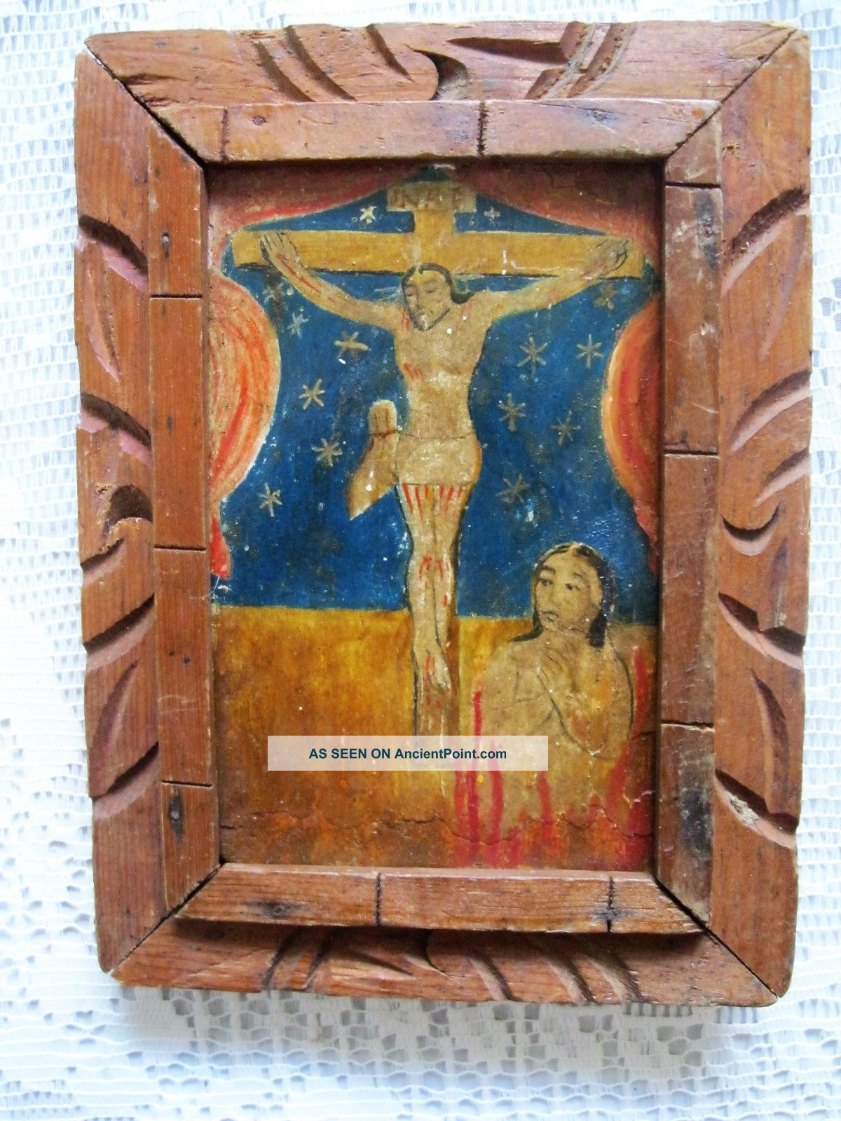 Antique Retablo On Wood Image Of Christ On The Cross And Lonely Soul Latin American photo