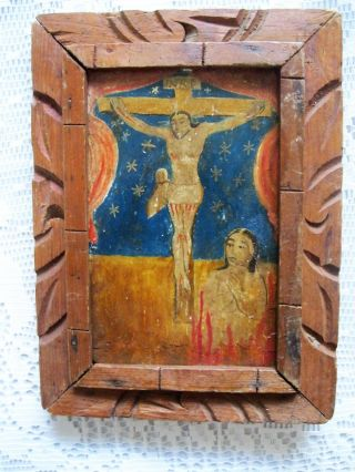 Antique Retablo On Wood Image Of Christ On The Cross And Lonely Soul photo
