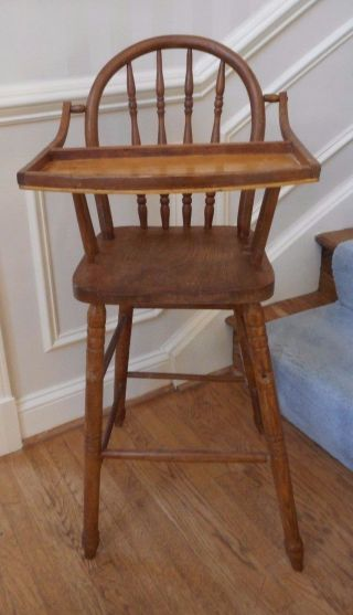 Vintage Jenny Lind Style Wooden High Chair Spindle Back photo