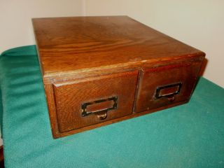 Antique 2 Drawer Weis Oak Library Card File photo