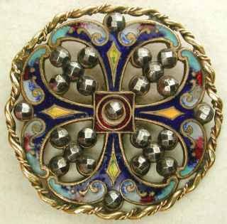 Lg Antique Enamel Button Colorful Pierced W/ Cut Steel & Twisted Brass Border photo