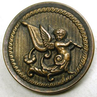 Antique Brass Button Detailed Image Of Cherub Playing Flute 1 & 1/4