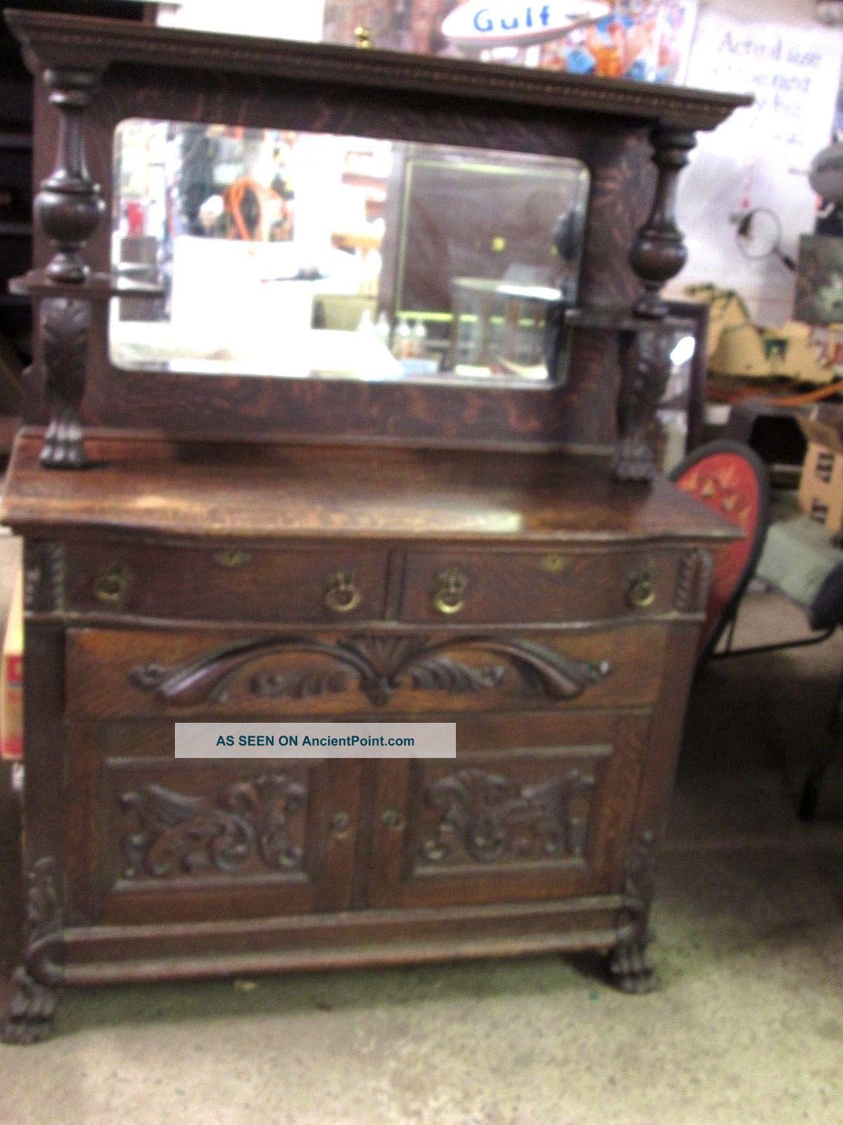 Antique C1920 ' S Oak Sideboard 1900-1950 photo