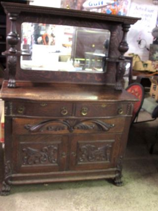 Antique C1920 ' S Oak Sideboard photo