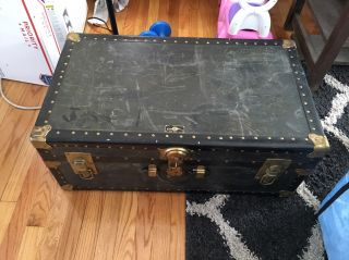 Overland Vintage Antique Old Chest Trunk Metal Straps,  Locks,  Corners photo