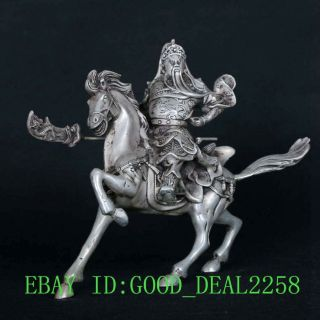 Tibetan Silver Copper Hand - Carved Hero Guangong Horse Riding Statue Csy690 photo