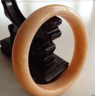 Chinese Natural Jade Hand - Carved Bracelet Bangle 60mm photo