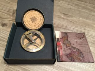 Authentic Models Bronze 18th Century Sundial And Compass photo