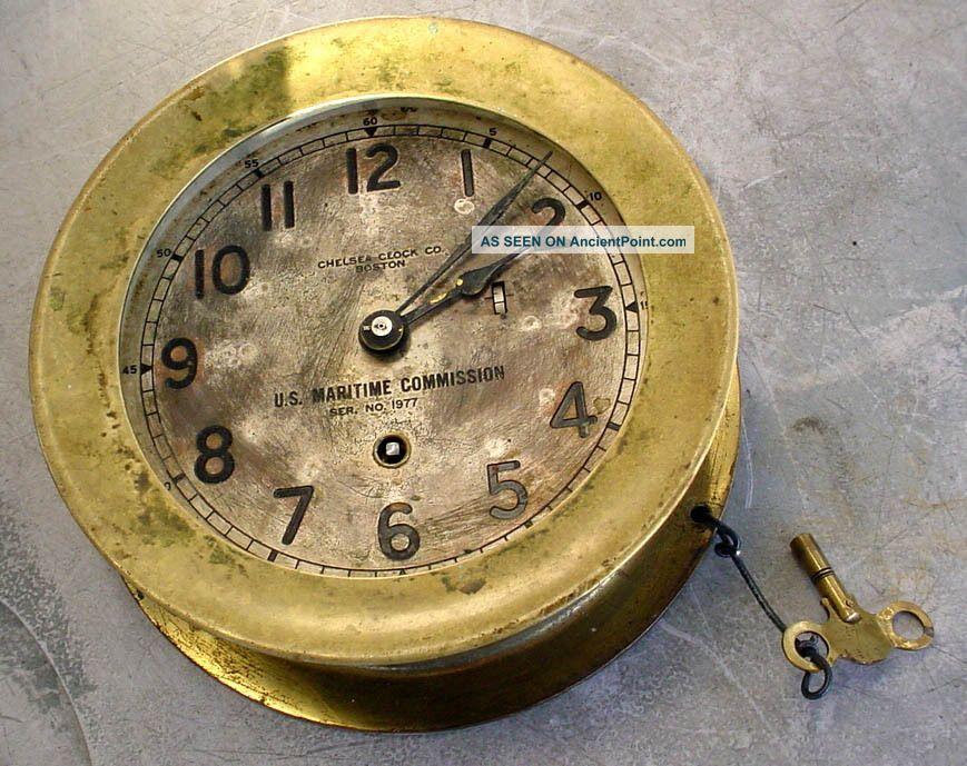 Antique Bronze Chelsea Ships U.  S.  Maritime Commision Ships Clock Boston N/r Clocks photo