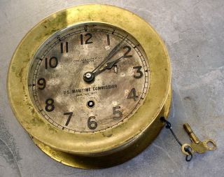 Antique Bronze Chelsea Ships U.  S.  Maritime Commision Ships Clock Boston N/r photo