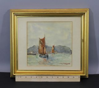 Antique 19thc Charles Paul Gruppe Watercolor Painting,  Maritime Seascape Boats photo