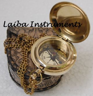 Brass Compass Nautical Antique Compass Maritime Pocket Gift Push Button Compass photo