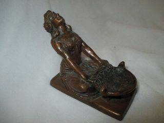 C1930s Art Deco Bedouin Woman Censer Incense Burner Bronze Brass W B Mfg photo
