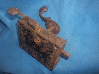Antique 1800s Pa Dutch Elbow Rim Lock Door Handle Tin Backplate Keyhole Deadbolt photo