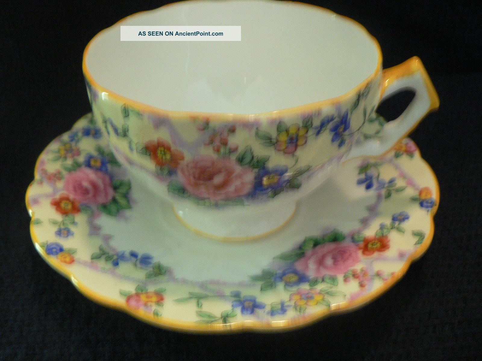 Aynsley Tea Cup And Saucer Golden Yellow Trim Flowing Flowers On White Cups & Saucers photo