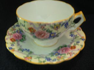 Aynsley Tea Cup And Saucer Golden Yellow Trim Flowing Flowers On White photo