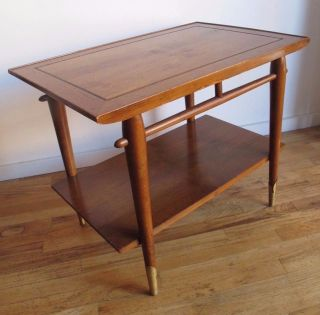 Lane Mid Century Two (2) Tier Walnut & Oak End / Side Table Danish Modern photo