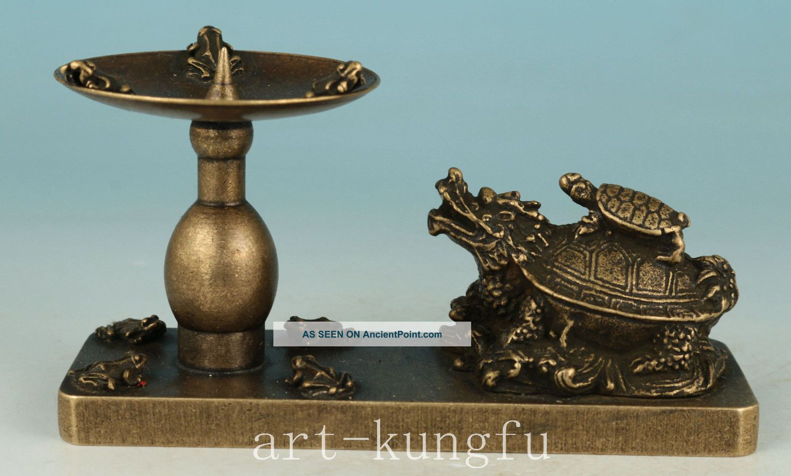 Chinese Old Bronze Handmade Carved Dragon Statue Candle Stick Oil Lamp 20th Century photo