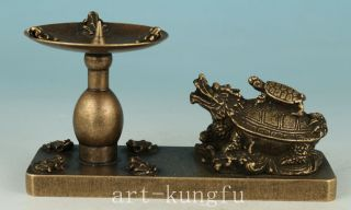 Chinese Old Bronze Handmade Carved Dragon Statue Candle Stick Oil Lamp photo