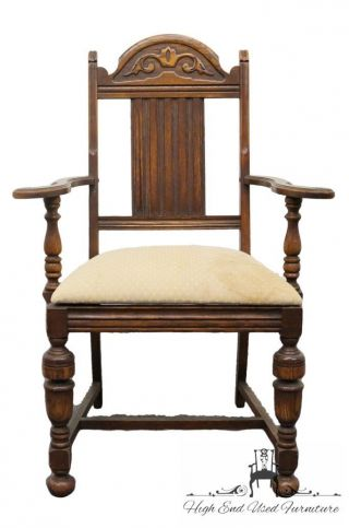Antique 1920's Gothic Revival Jacobean Dining Arm Chair photo