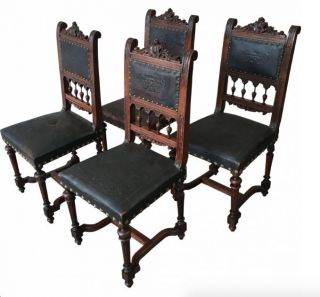French Antique Leather Dining Chairs photo