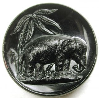 Nbs Med Sz Antique Black Glass Button Elephant Pictorial - 1 & 1/16