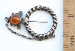 Antique Vintage Ethnic Silver Brooch Pin Sakta Fibula With Amber photo