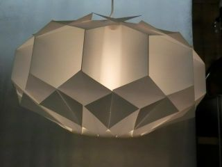 Rare Mid Century Danish Modern White Plastic Origami Ceiling Lamp 60s photo