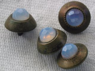 4 Antique Early 1800 ' S Mexican Opal Buttons photo