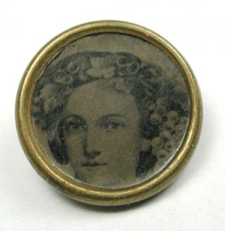 Antique Tin Type Waistcoat Button Young Woman Image - 7/16