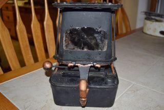 Antique Co & Gs Co Cast Iron Stove Sad Iron Heater Tabletop Burner Kerosene Lamp photo