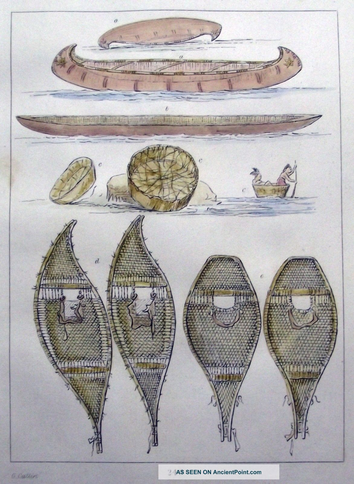 1842 G.  Catlin Handcol Engraving Native American Indians Canoes Snow Shoes Native American photo