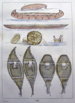1842 G.  Catlin Handcol Engraving Native American Indians Canoes Snow Shoes photo