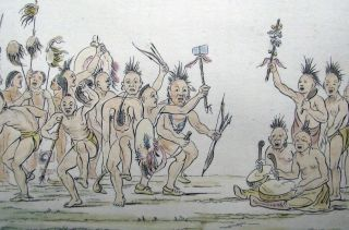 1842 G.  Catlin Handcol Engraving Native American Indians Medicine Dance photo