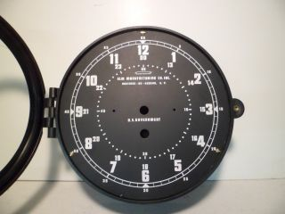 Nos 8 1/2 Inch Elm Manufacturing Military Navy Plastic Clock Case W/ 12 Hr Dial photo