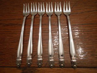 6 Holmes & Edwards 1938 Danish Princess Seafood Cocktail Forks Is Silverplate photo