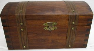 Vintage Wood Dome Top Chest Covered Storage Box Natural Patina photo