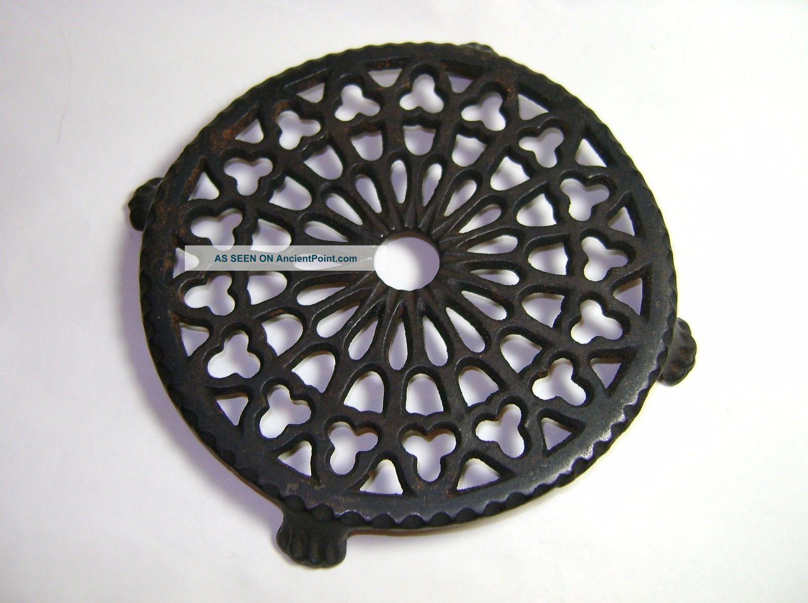 Antique Round Ornate Cast Iron Footed Vintage Trivet Perfect For Primitive Decor Trivets photo