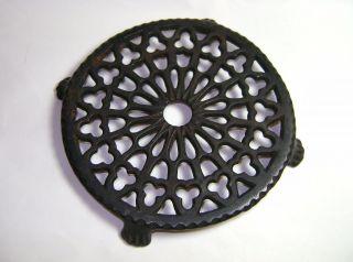 Antique Round Ornate Cast Iron Footed Vintage Trivet Perfect For Primitive Decor photo