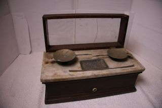 Antique Henry Troemner Scale Glass Top Marble Middle Wood Base Pans photo
