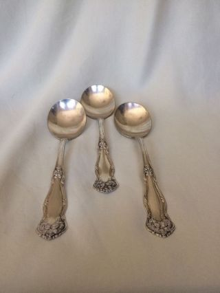 3 Arbutus Silverplate Round Gumbo Soup Spoons - Wm.  Rogers & Sons - Aa 6 - 7/8
