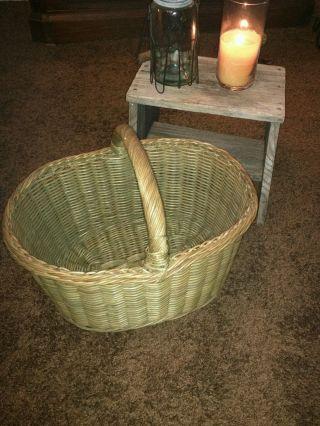 Large Antique Primitive Gathering Market Old Farm Egg Basket Oval Aafa photo