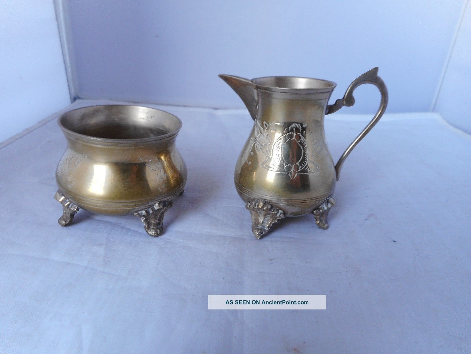 Antique Silver Plate Cream Jug (8cms High) &sugar Bowl (6.  25cms Diameter) Sugar Bowls/Tongs photo